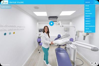 Tour virtual 360 de clínica dental con elementos multimedia